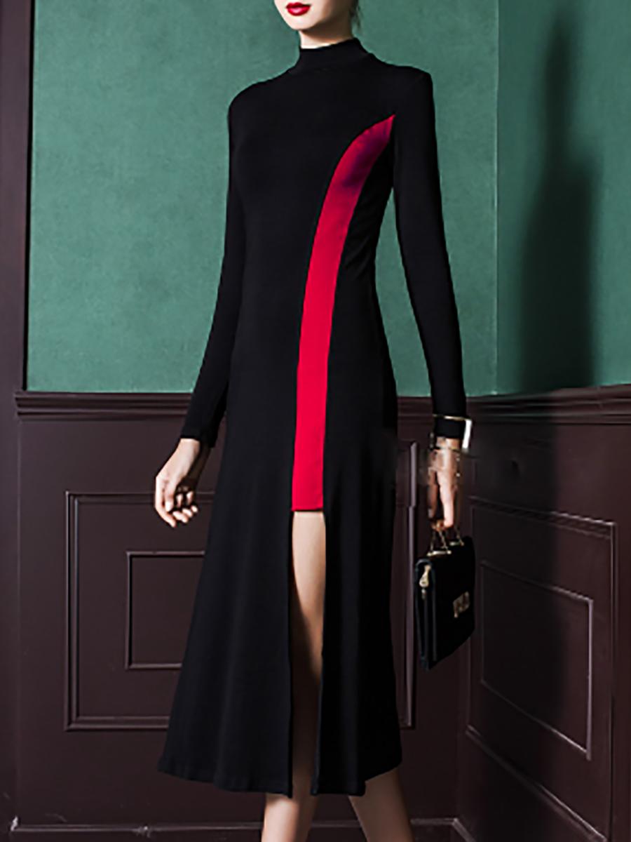 Stand collar blackred daily cotton long sleeve paneled midi dress