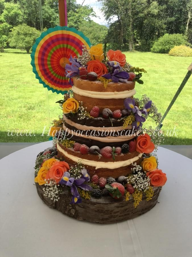 Naked Wedding cake by Paul of Happy Occasions Cakes. - http://cakesdecor.com/cakes/248073-naked-wedding-cake