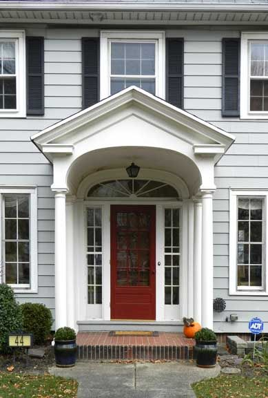 Colonial revival front door side lights arched window for Front doors for colonial homes