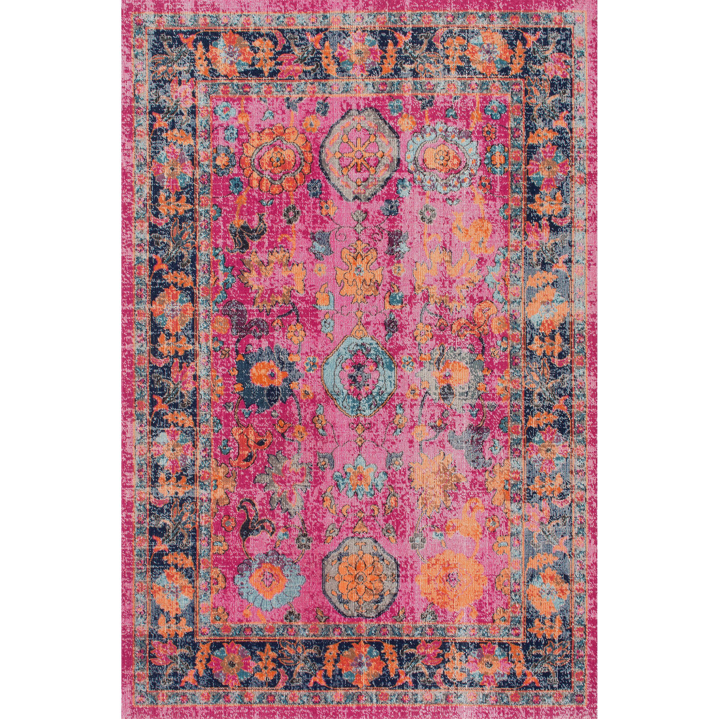 Nuloom Vintage Persian Distressed Fl Pink Rug 8 X 10