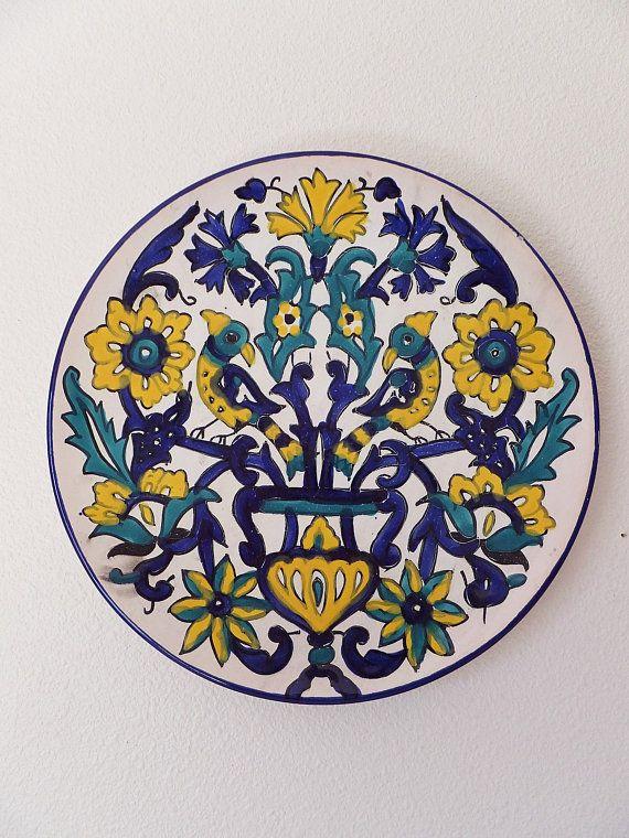 Vintage Italian Decorative Wall Hanging Plate Majolica Mediterranean ...