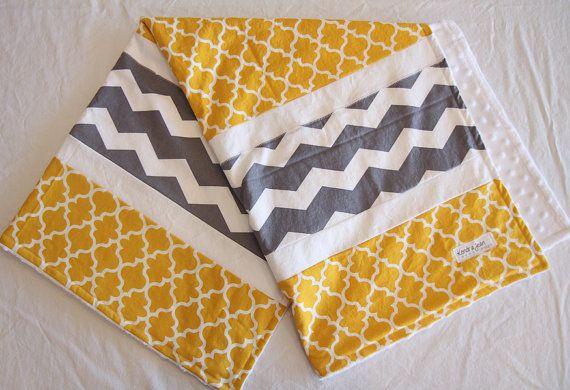 Yellow And Gray Baby Blanket Unisex Lightweight Quilt Mustard Yellow Lattice And Gray Chevron Grey Baby Lightweight Quilt Baby Blanket