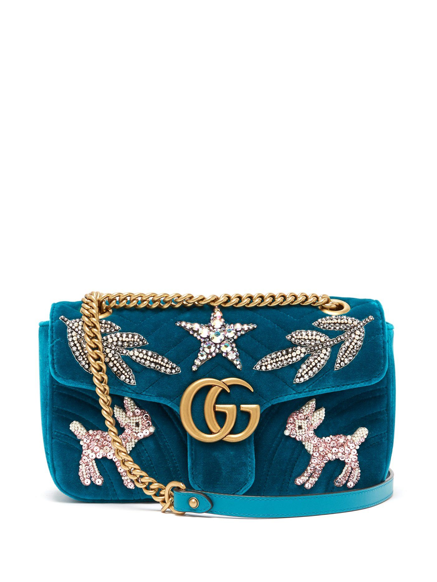 531e7ca2f21 GG Marmont small embellished velvet cross-body bag