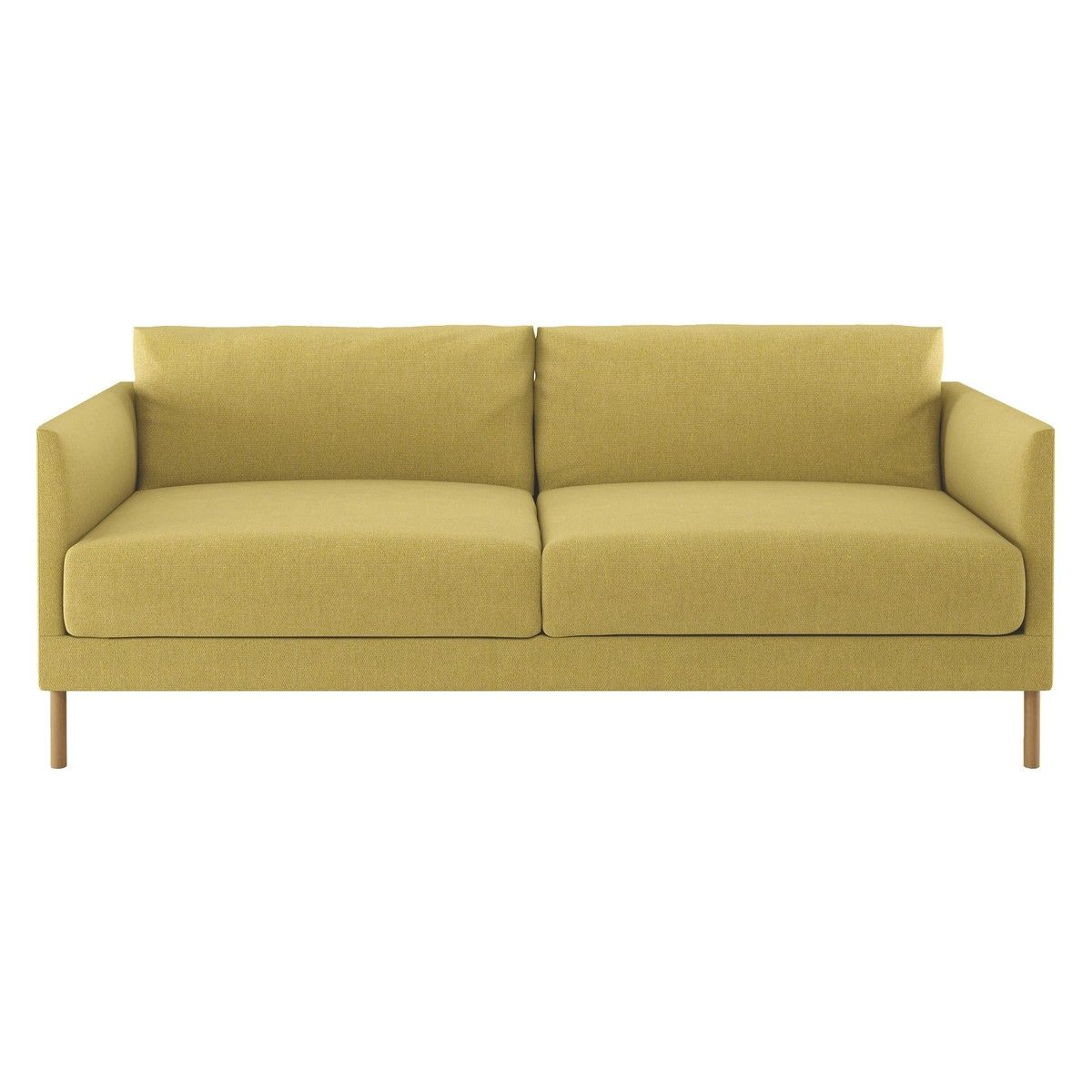 Beau HYDE Yellow Fabric 3 Seater Sofa, Wooden Legs