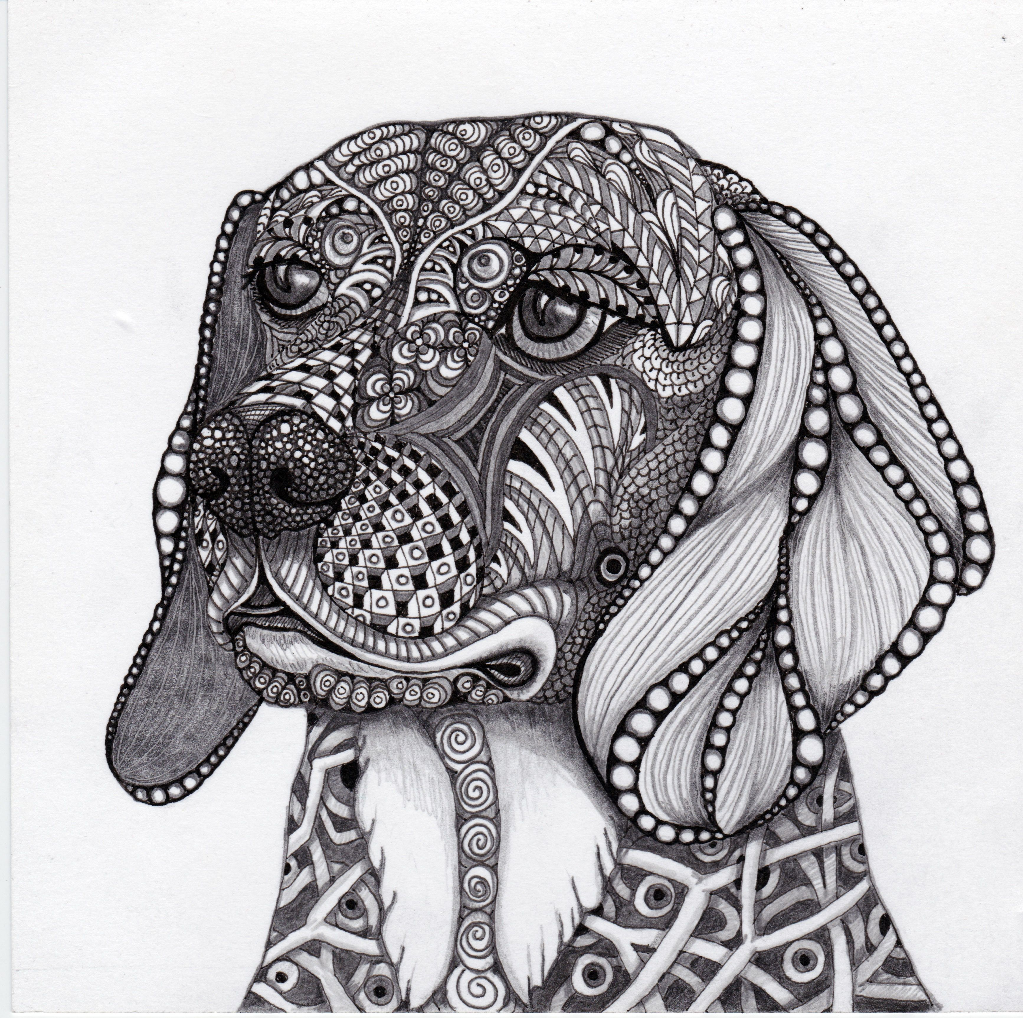 This Is Liz S Beagle Bandit Rendered In Ink And Graphite An Original Zentangle Inspired Artwork By Dog Coloring Page Animal Coloring Pages Zentangle Animals [ 3452 x 3467 Pixel ]