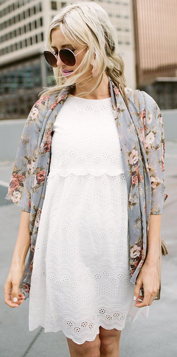 #summer #outfitsGrey Floral Cardigan + Little White Dress