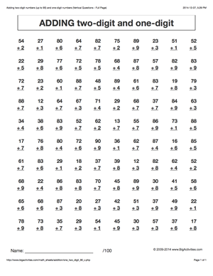 Addition math worksheets - adding two-digit number with one-digit