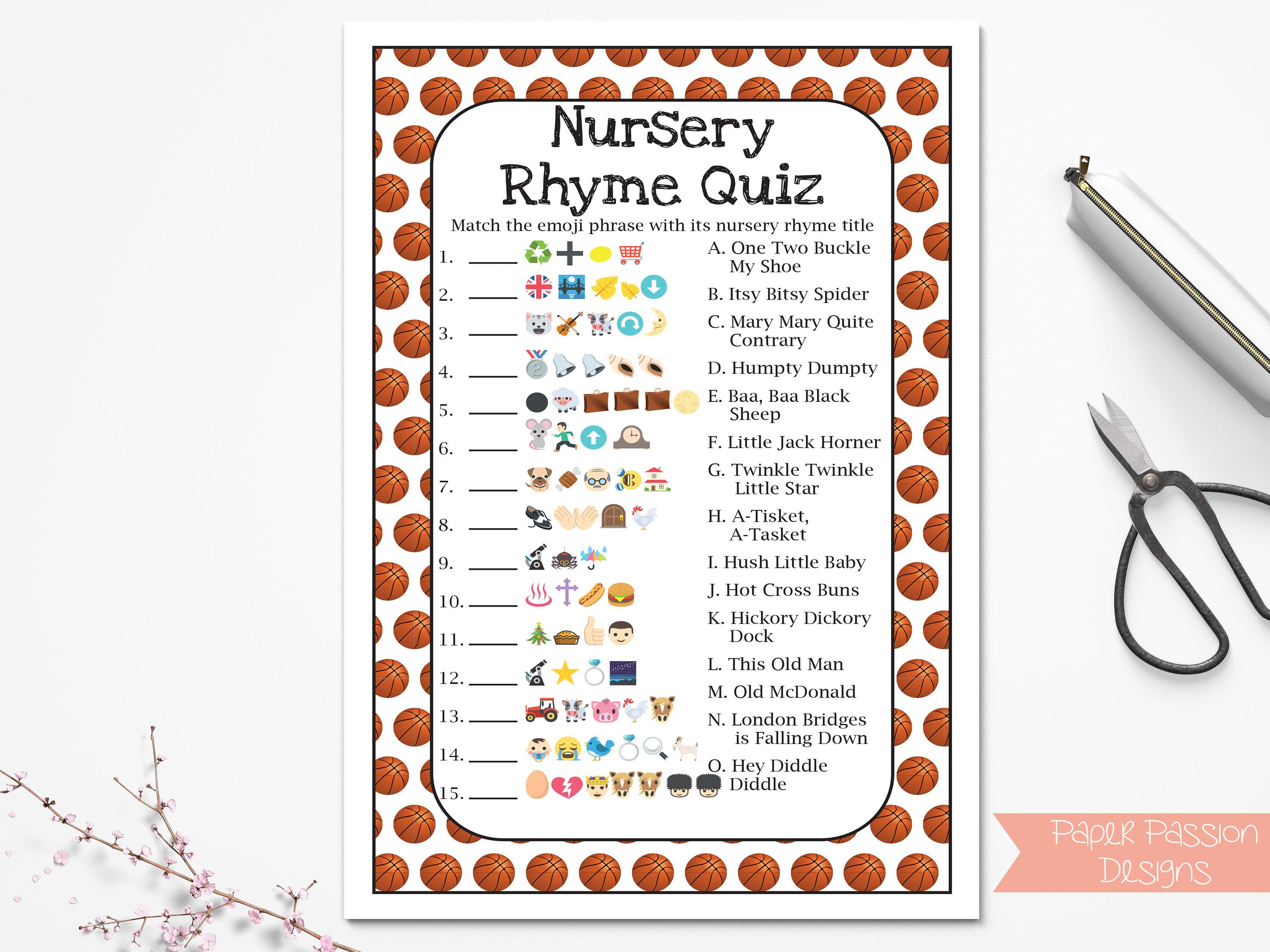 Basketball Theme Nursery Rhyme Quiz Baby Shower Game Sport Theme