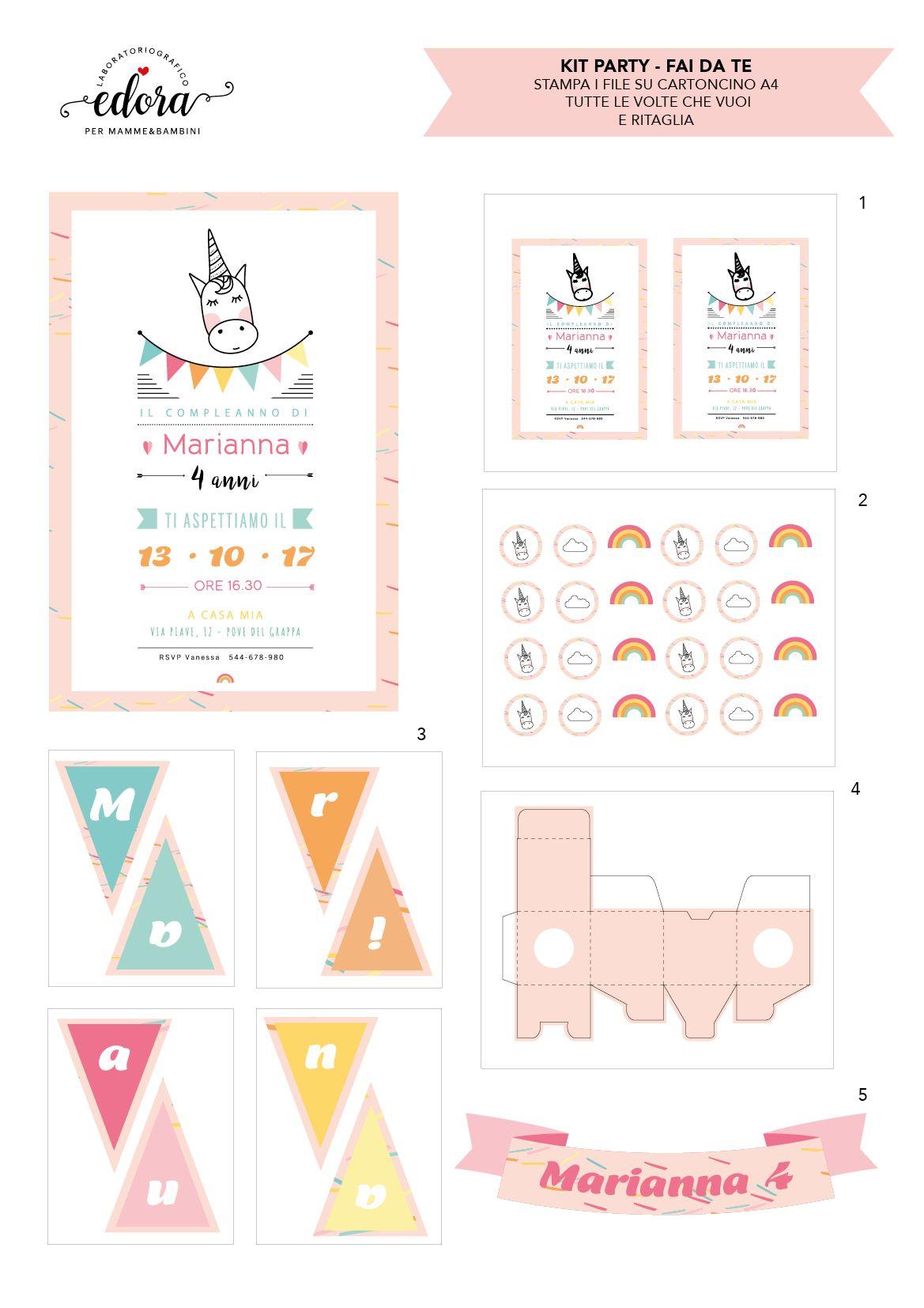 Kit Per Festa Di Compleanno Compleanno Digitale Tema Unicorno Da