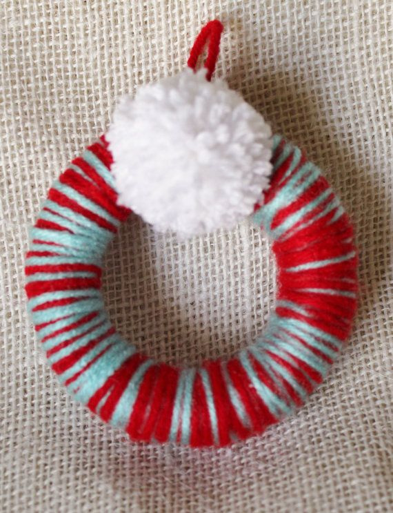 CLEARANCE Mini Christmas Wreath Ornaments, Aqua and Red Color Scheme