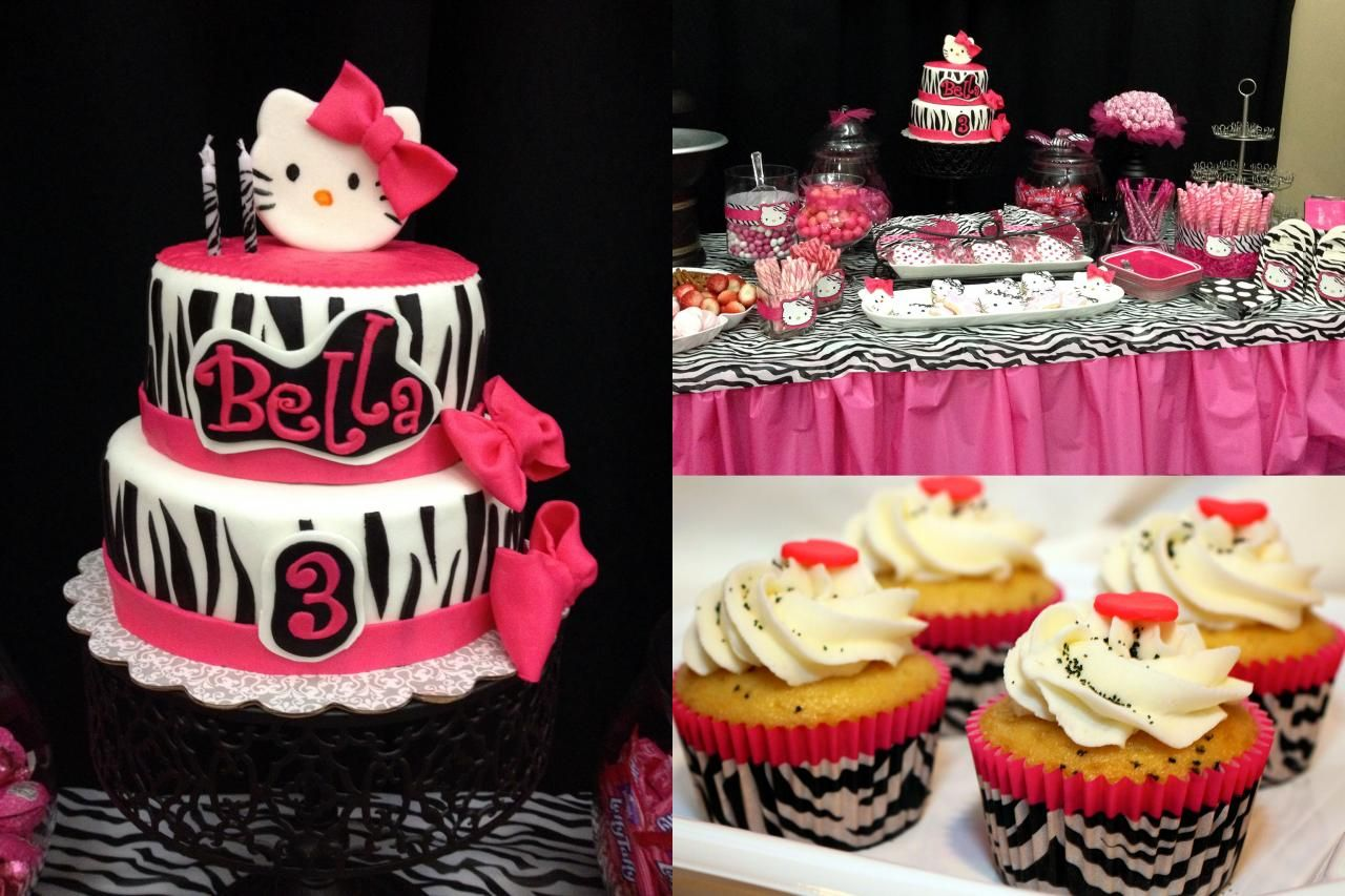 Zebra Print Hello Kitty Cake and Cupcakes Birthday ideas