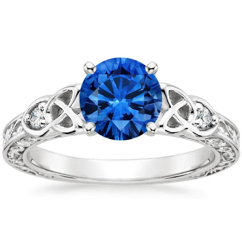 Blue Sapphire Aberdeen Engagement Ring - 18K White Gold