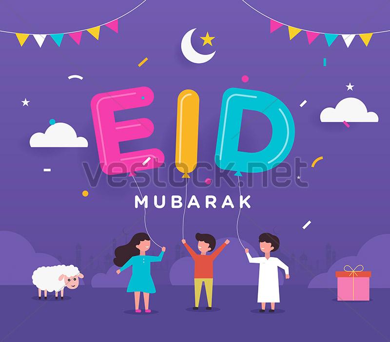 eid mubarak with cute arabic calligraphy and happy kids