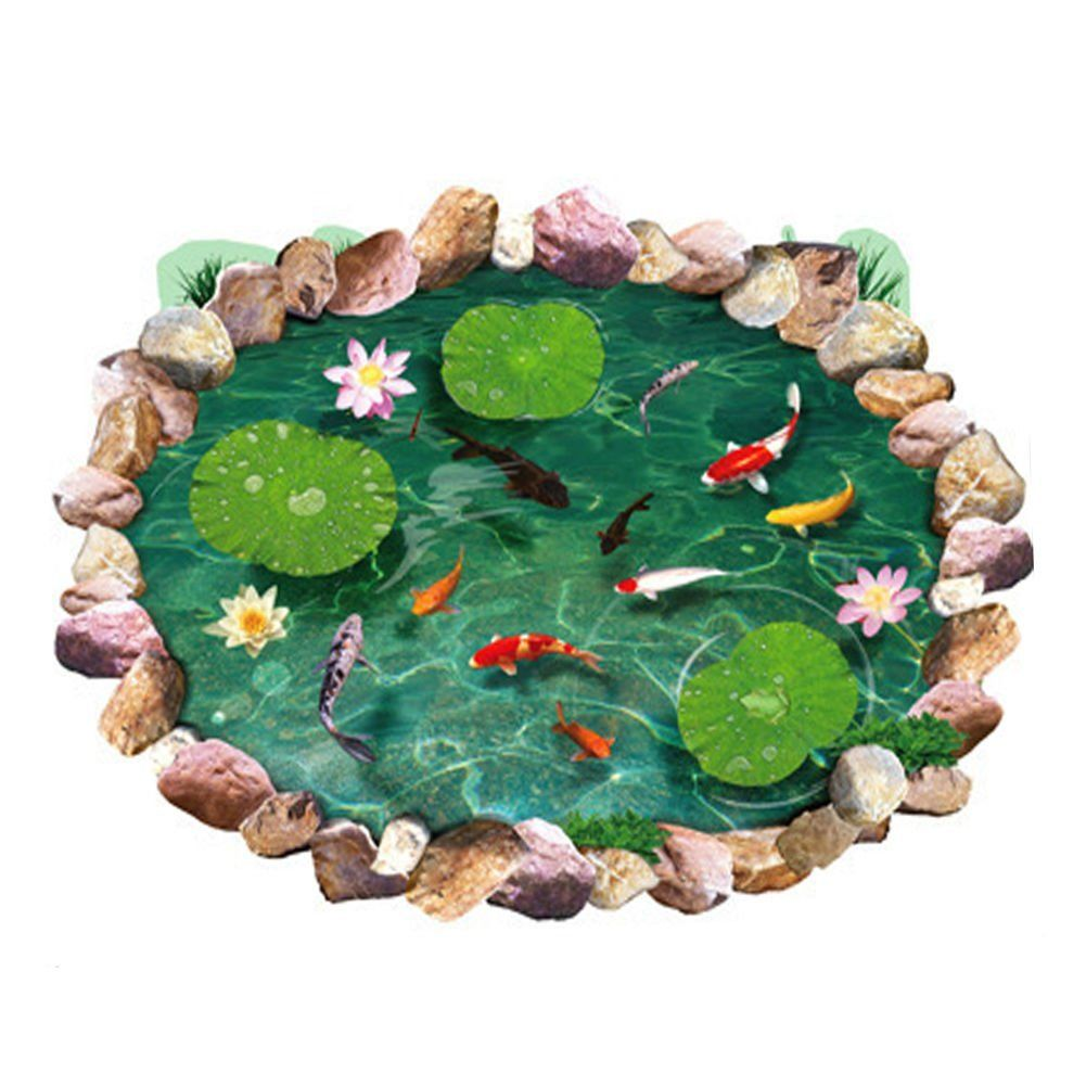 Best Silly 3D Fish Ponds Lotus Floor Coverings Sticker Bedroom 400 x 300