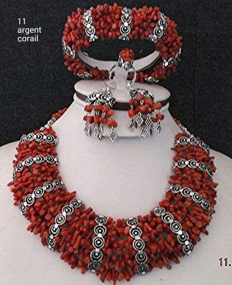 Bijoux Algerie Argent : Parure en argent et corail berb?re robe kabyle