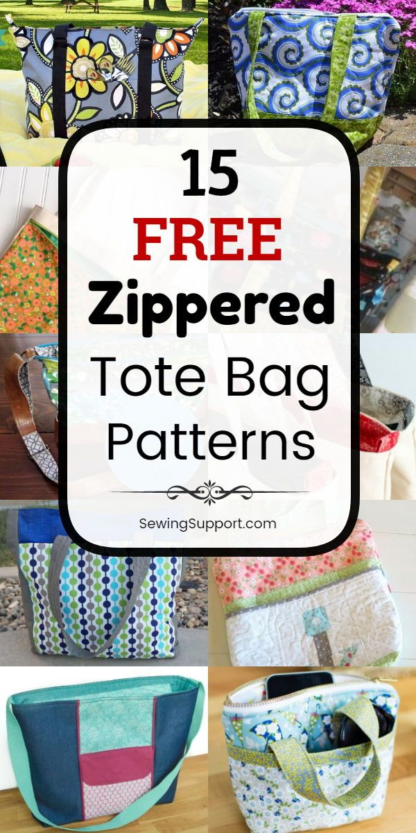 Tote Bag Patterns with Zippered tops. Fifteen free diy tote bag sewing patterns, projects & tutorials. Large, small, and sturdy lined styles. Great for kids and school. Great diy gift idea. Instructions for how to make a zippered tote bag. #SewingSupport #Tote #Bag #Pattern #Free #Zippered #Diy #Sewing #bagpatterns