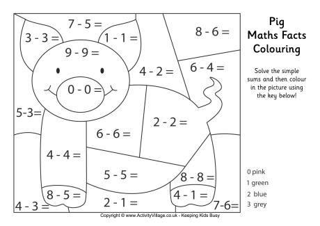 Pig Maths Fact Colouring Page Math Facts Math Coloring Math