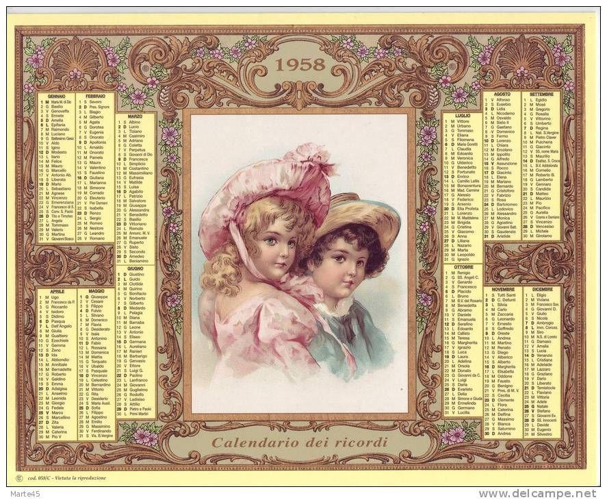 Calendario 1958.Calendario Dei Ricordi Anno 1958 Numero Dell Oggetto 183417050
