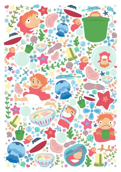 Ponyo Pattern Studio Ghibli Art Print 手描きイラスト ポニョ ジブリ イラスト