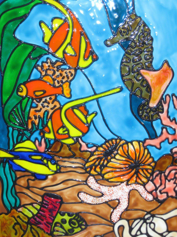 картинки с рыбками витраж правда ли, напоминает