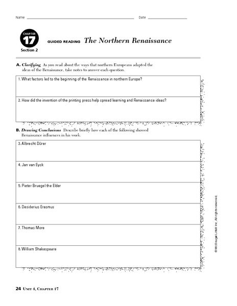 The Northern Renaissance Worksheet Lesson Planet Letter Recognition Worksheets Letter Worksheets For Preschool Letter Recognition Activities Preschool 9th grade history worksheets