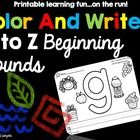 This download includes blackline printables for lowercase letters a to z. The beginning sound pictures are colored and the letter is traced and wri...