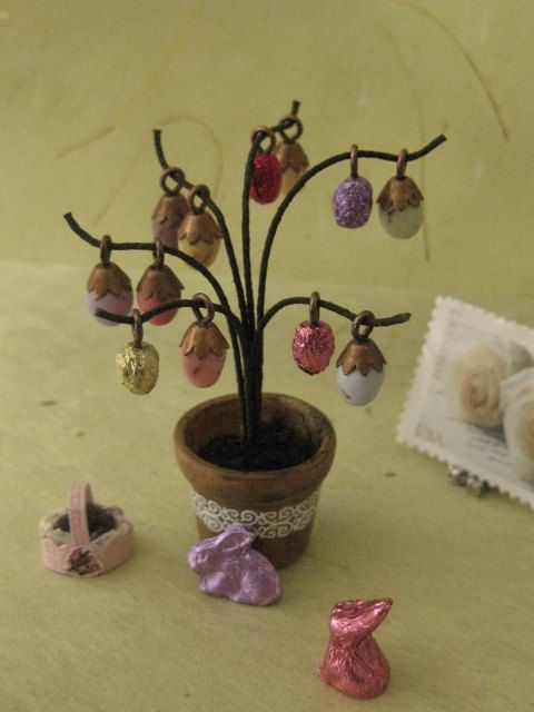Easter Decorative Egg Tree Plant   12th Scale by NoaMiniatures