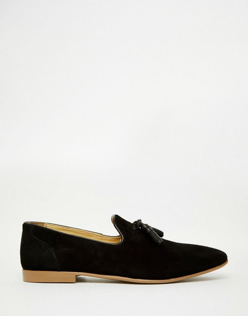 Tassel Loafers in Black Suede With Natural Sole - Black Asos Cheap Explore nDrVMqcwzH