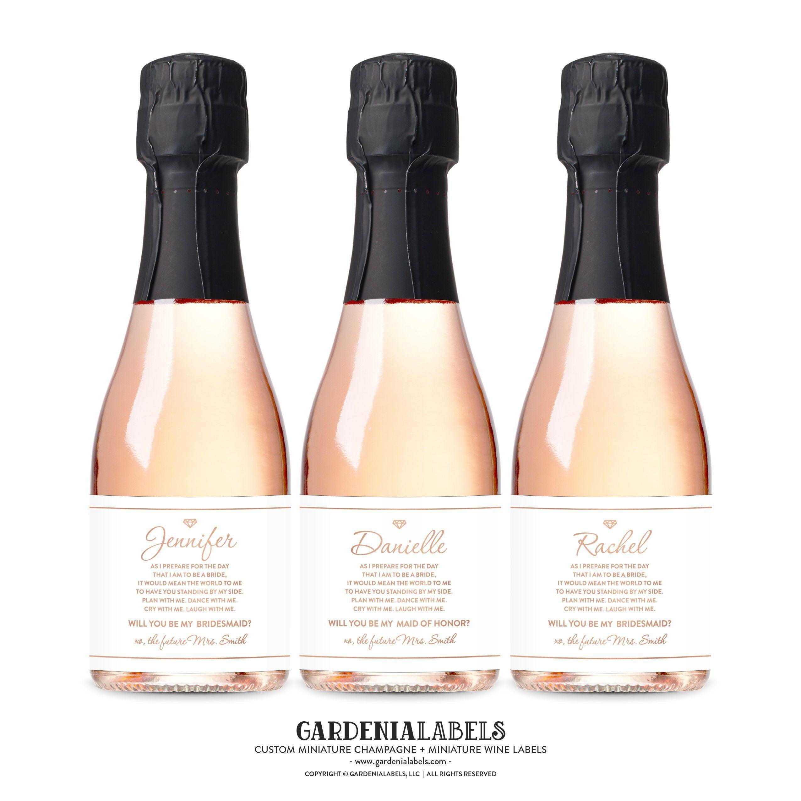 Will You Be My Bridesmaid Custom Mini Champagne Labels Bridesmaid Box Proposal label Mini wine labels Mini champagne bottle wine label
