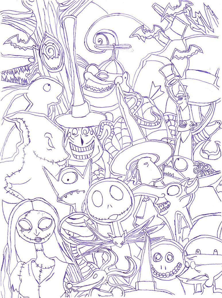 Nightmare Before Christmas Characters Coloring | Coloring sheets ...
