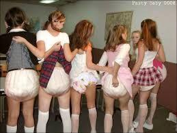 Women lifting their skirts
