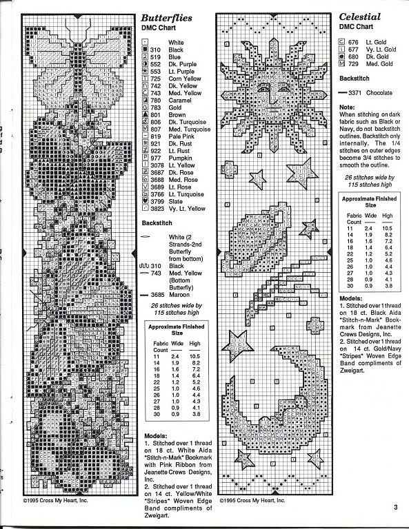 Butterflies And Celestial Bookmark Patterns Good For Cross Stitch
