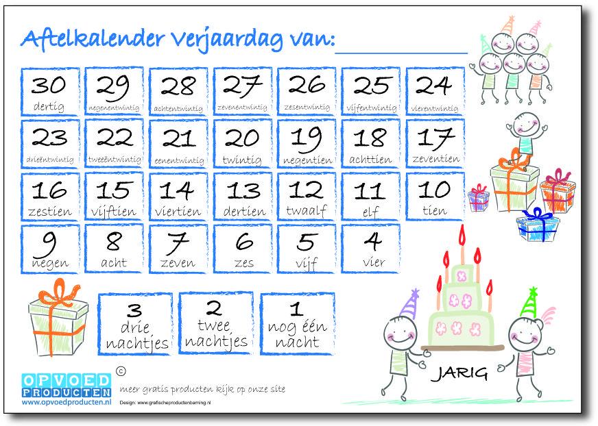 Zeer Gratis aftelkalender Verjaardag voor kinderen. Laat kinderen zelf  &LU92