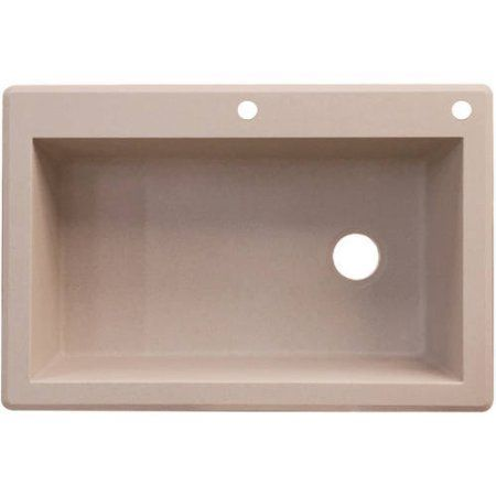 Transolid 33 inch x 22 inch Top Mount Radius Granite Kitchen Sink, Available in Various Colors, Brown