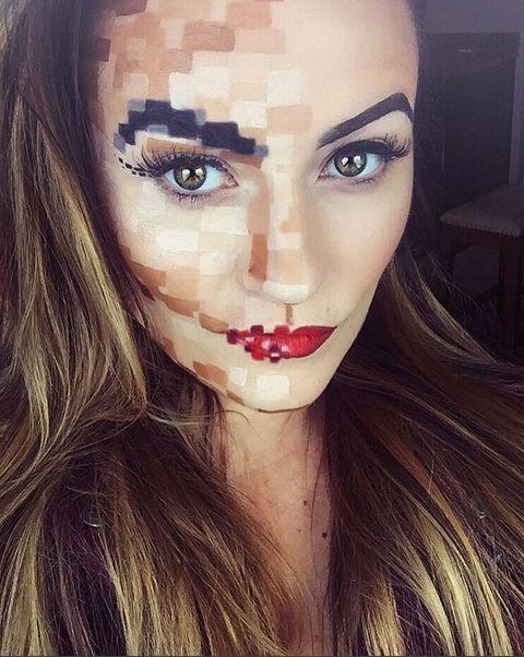 halloween makeup ideas pixelated face more info. Black Bedroom Furniture Sets. Home Design Ideas