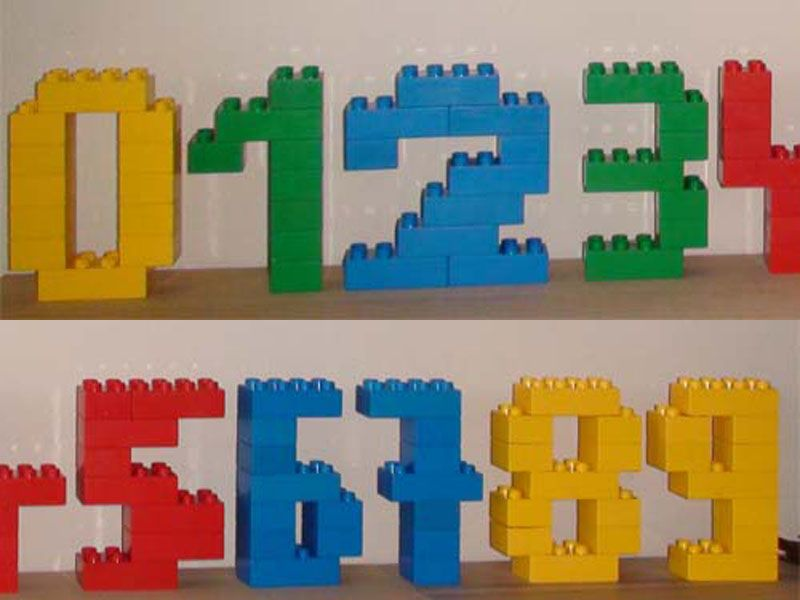 Build numbers out of LEGOS. This could be a good take home activity ...