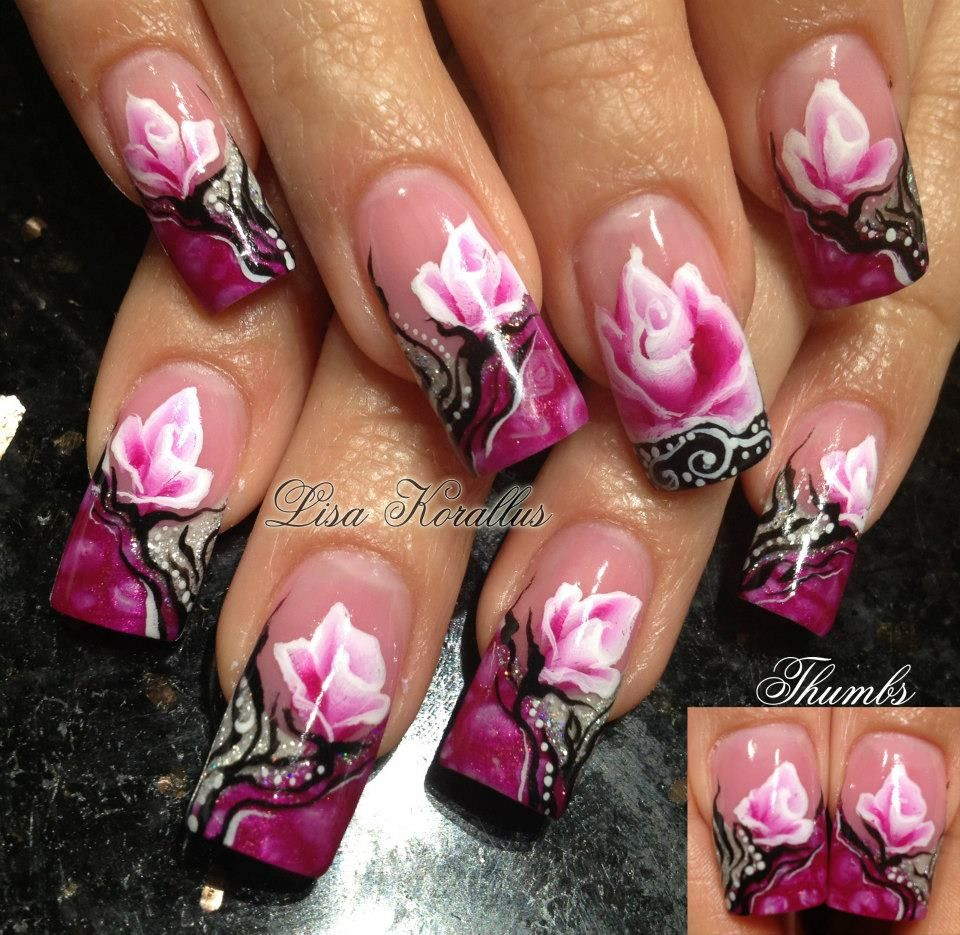 Sculpted Gel Enhancement With Hand Painted Flowers Flower Nails Floral Nail Designs Flower Nail Designs