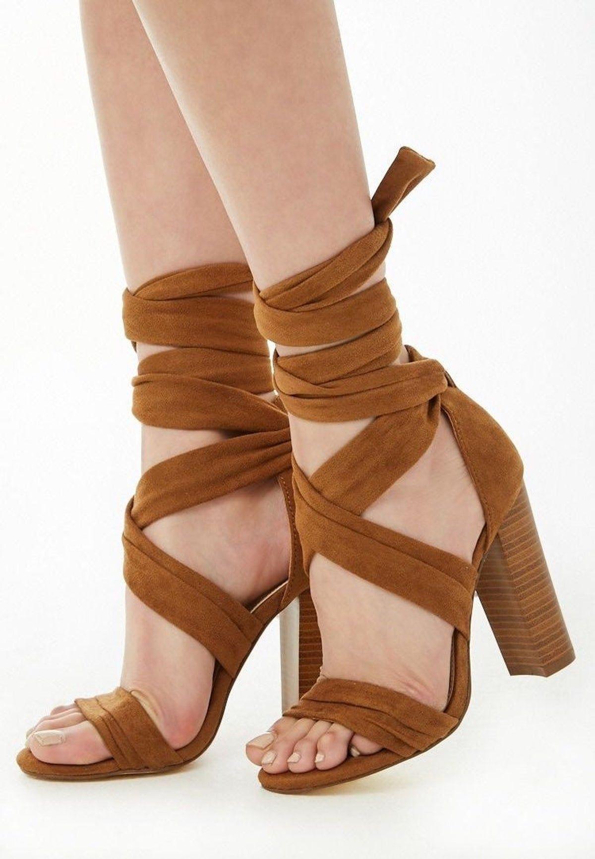 Beige Faux Suede Strappy Block Heel Sandal (WW) | Strappy