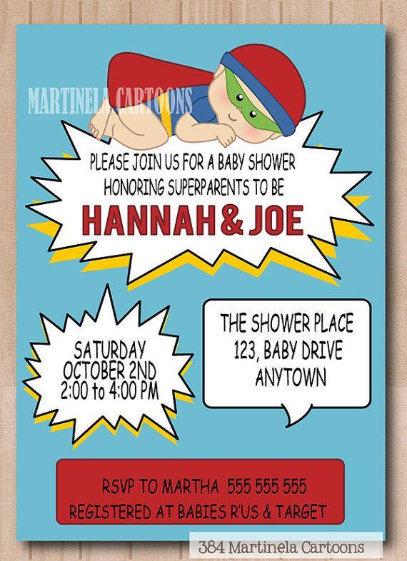 Marvel Comics Baby Shower Invitation Superhero Baby Shower Invite