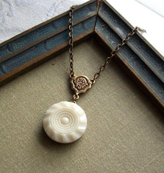 Vintage Glass Button Necklace, Cream