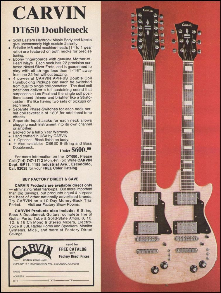 b8efdb2e63c3bc Carvin DT650 Doubleneck electric guitar 8 x 11 advertisement 1976 ad print   Carvin