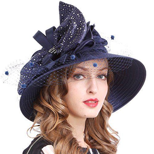 d6d3c9066af VECRY Kentucky Derby Dress Church Cloche Hat Sweet Cute Floral Bucket Hat  (Veil-Navy)