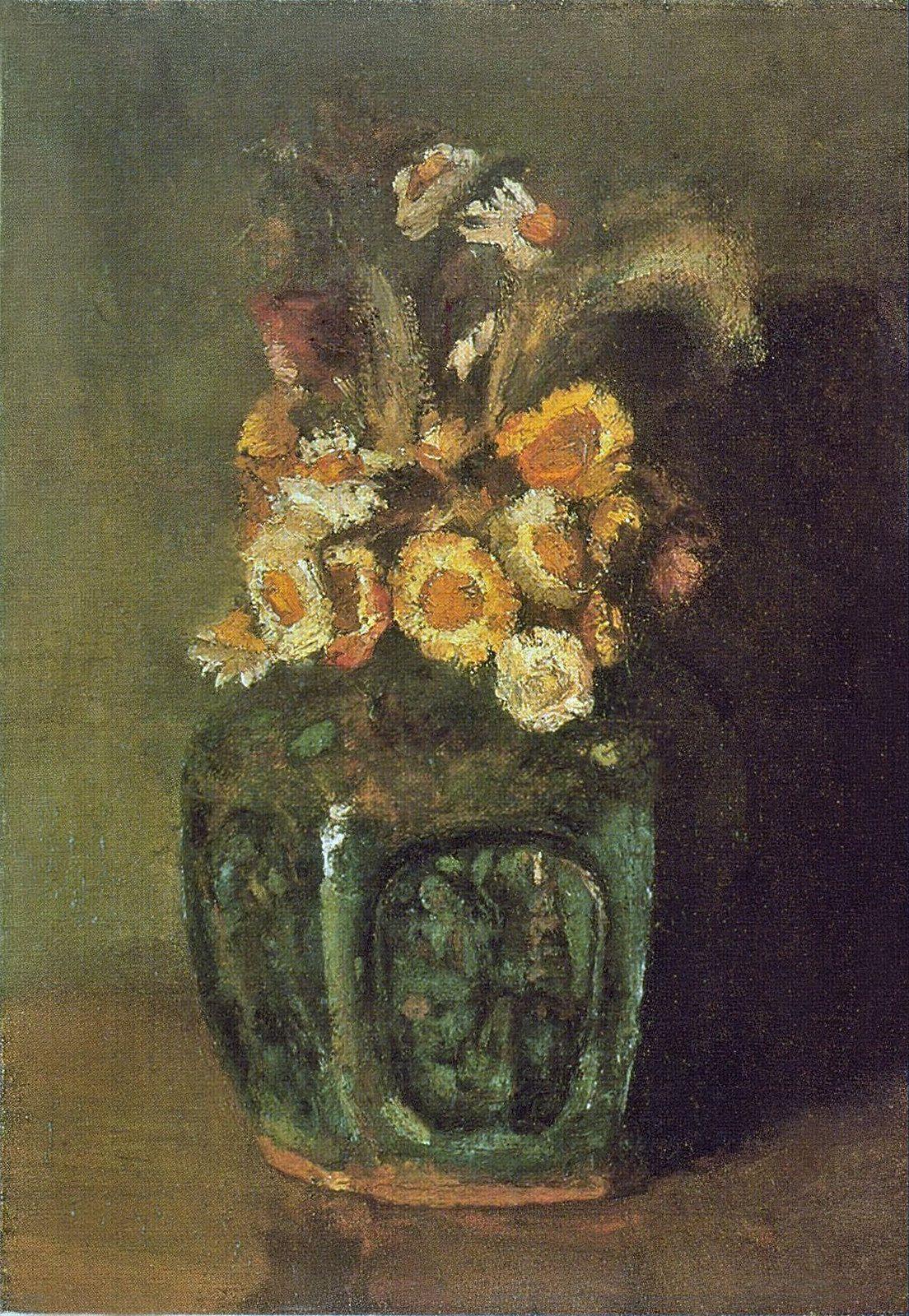Ginger Jar With Chrysanthemums Vincent Van Gogh1886 Landscape