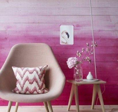ombre - wall Kombinationen-von-Wandfarben-lila-rosa-sessel Wand - wohnideen wohnzimmer lila farbe