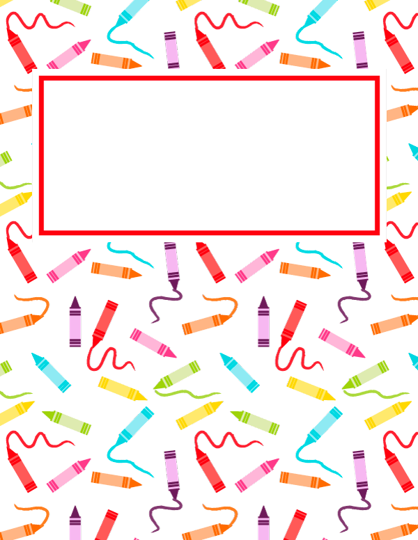 Free Printable Crayon Binder Cover Template Download The Cover In