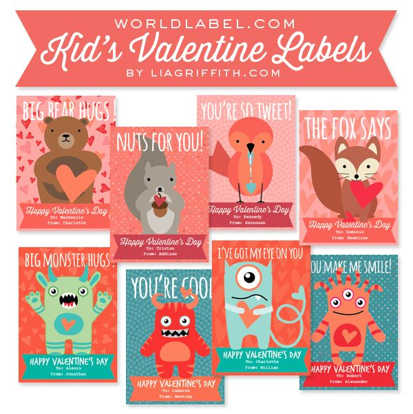 picture regarding Printable Valentine for Kids known as Free of charge printable Young children lovely Valentines Working day Labels by way of @lia
