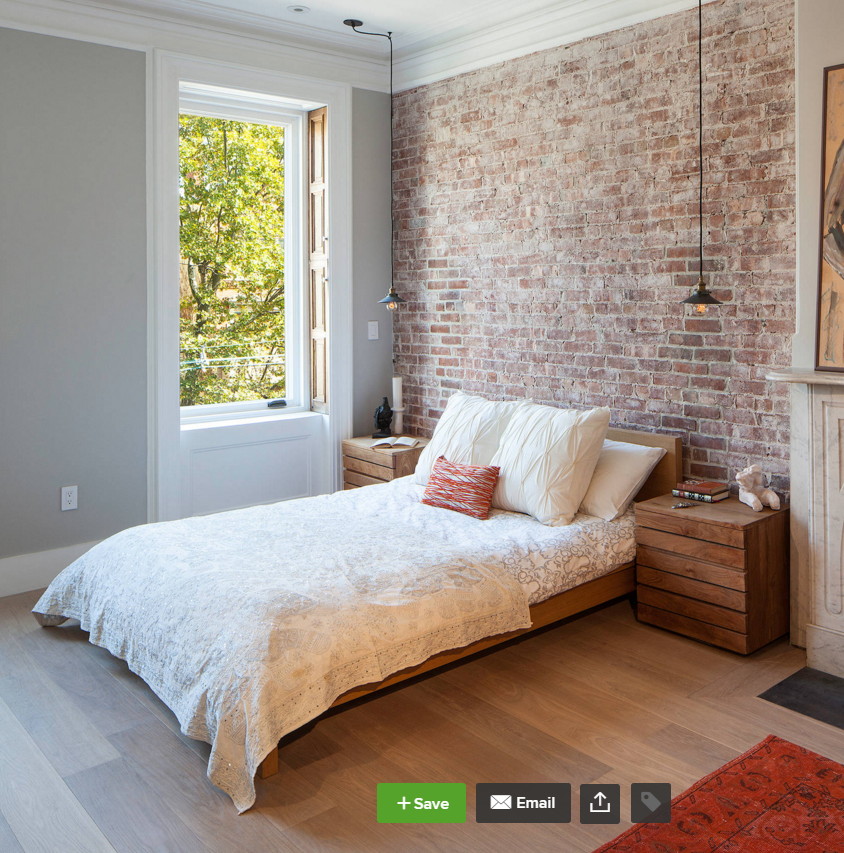 Rustic red brick wall pinteres for Brick accent wall bedroom