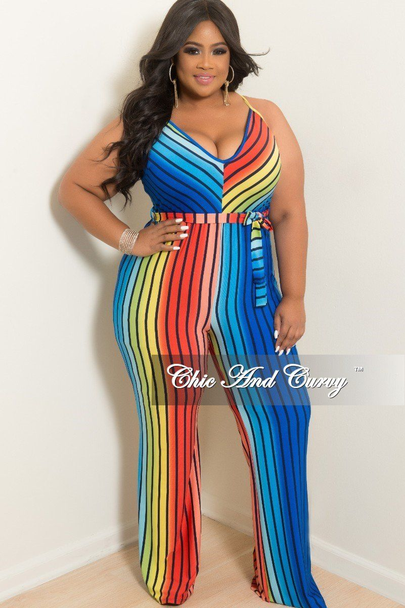 67e9dd1daee Plus Size Spaghetti Strap Jumpsuit with Attached Tie in Striped Rainbow –  Chic And Curvy
