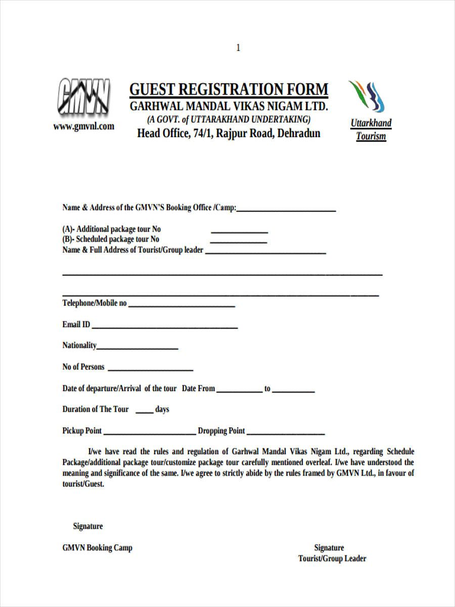 Free 22+ Hotel Registration Forms In Pdf Ms Word