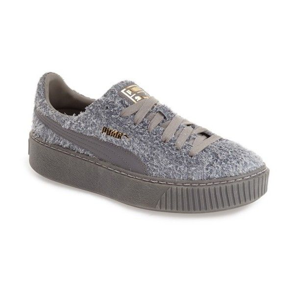 Women's Puma Elemental Platform Sneaker (€91) ❤ liked on Polyvore featuring shoes, sneakers, grey, suede leather shoes, suede shoes, gray sneakers, suede platform shoes and grey suede sneakers